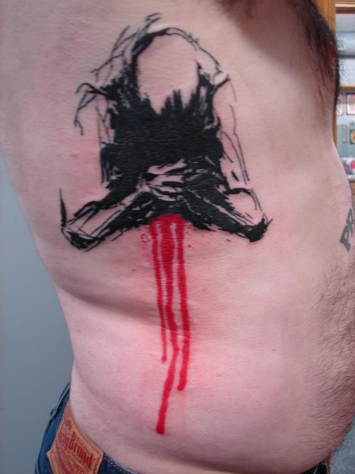 black and red bleeding skeleton