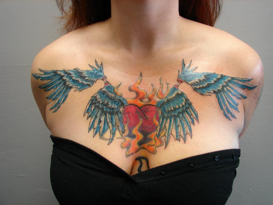 flying heart chest piece