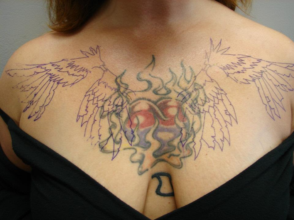 heart chest piece cover up