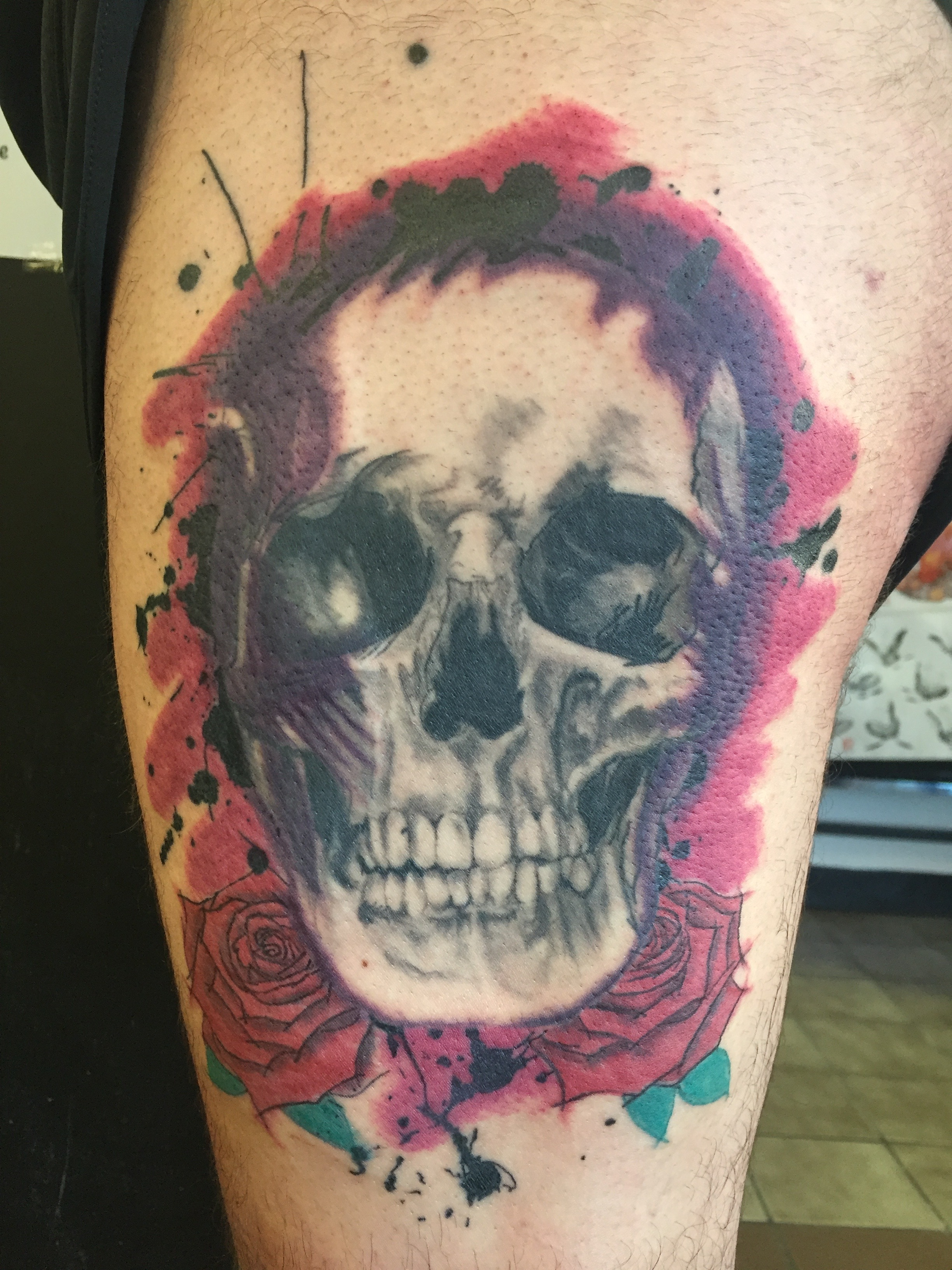 realistic shaded skull with roses