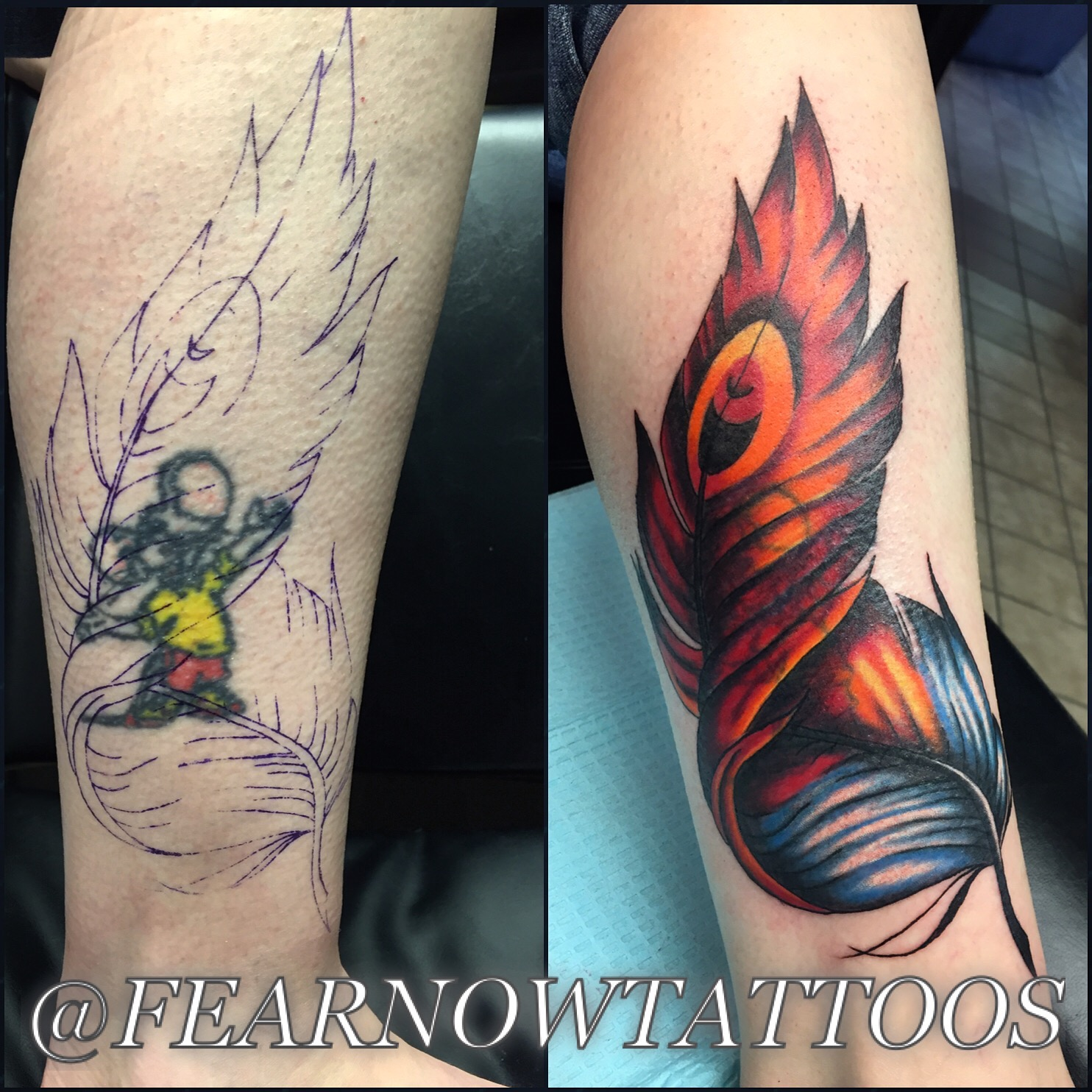 amazing feather tattoo cover up