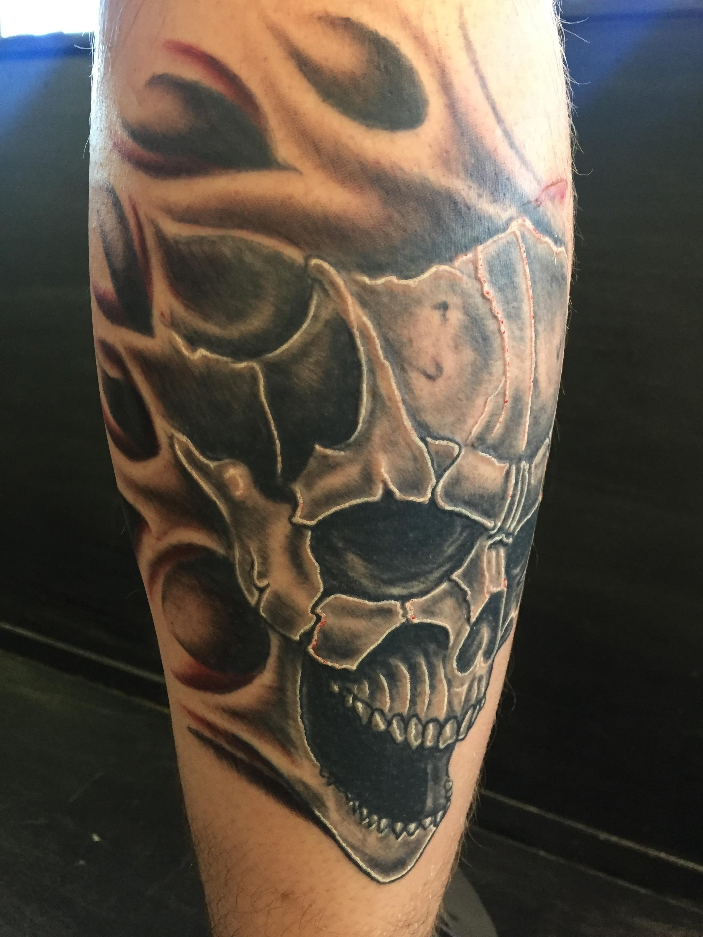 shaded black evil skull