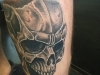 evil skull calf shaded black