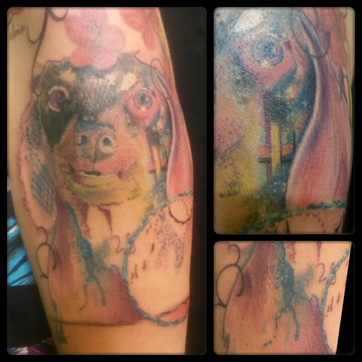 watercolor daschund tattoo