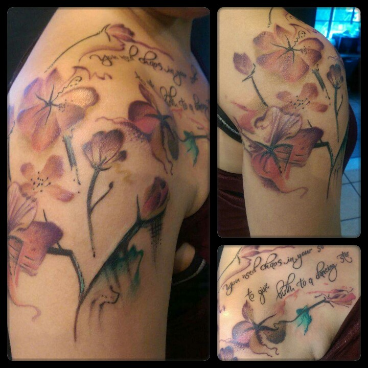 watercolor flower tattoo