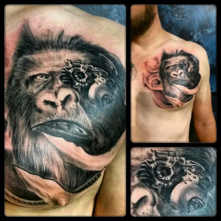 shoulder machine monkey tattoo