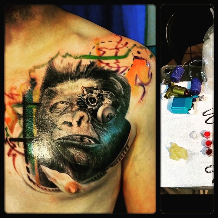 gorilla to machine tattoo