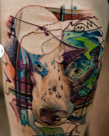 watercolor abstract dog tattoo