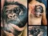 shoulder machine monkey tattoo