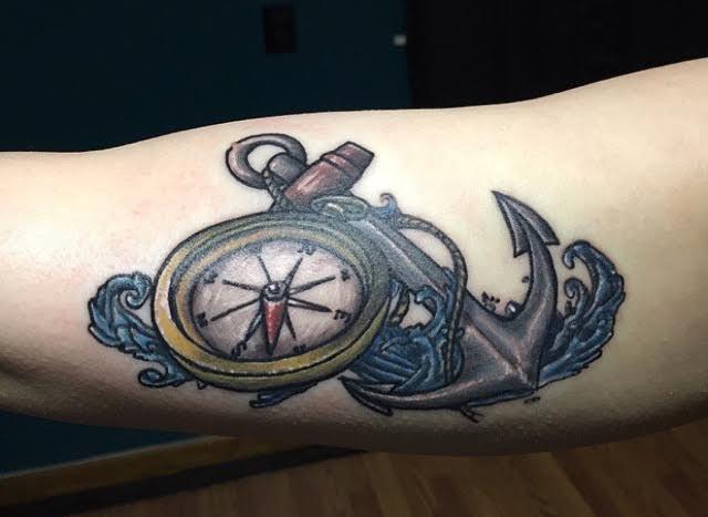 Clock and achor tattoo
