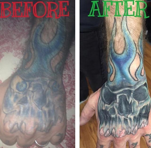 Flaming skull recolor tattoo