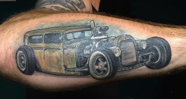 Hot rod forearm tattoo