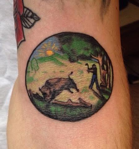 Hunting buffalo sheild tattoo
