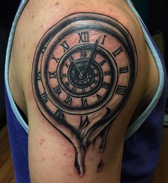 Melting clock tattoo indy