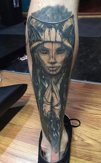 Realistic Black and White Face Tattoo
