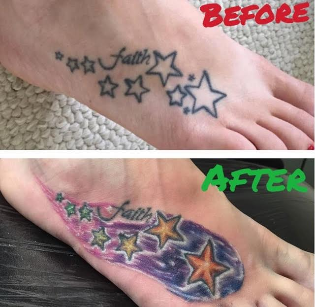 Recoloring and recovering stars tattoo