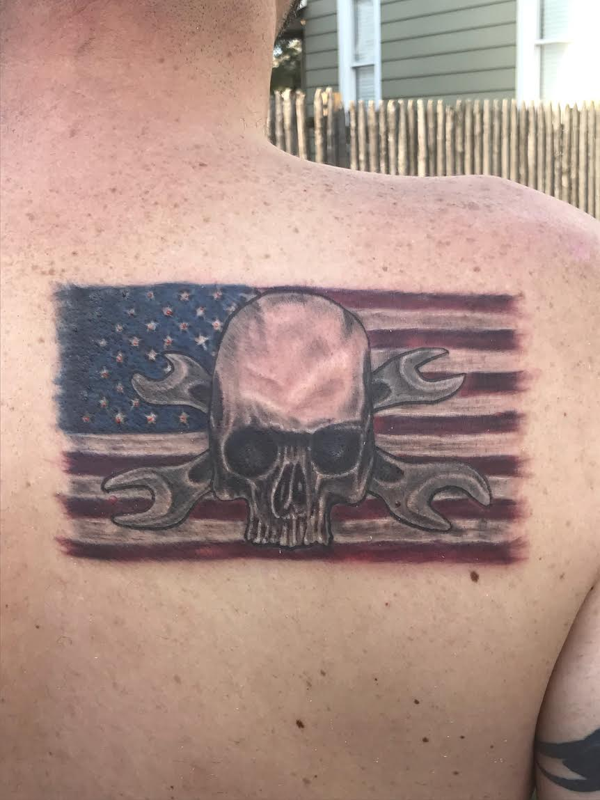 Skull on Flag back Tattoo