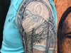 black stained glass sleeve tattoo