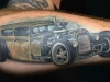 Hot rod forearm tattoo